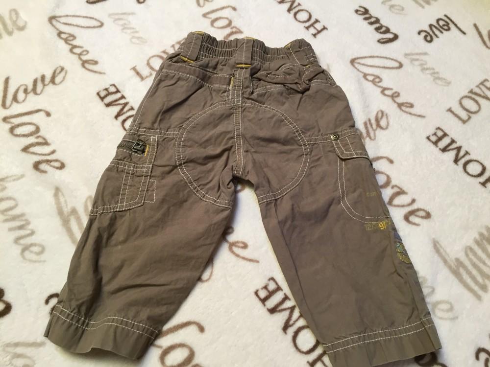 9af2bedad Next 9-12 hó 11 kg zöldesbarna farmer hatású sárga fehér varrású vékony  vagány fiú nadrág, oldalán zsebekkel