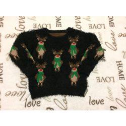 Nutmeg 18-24 hó 86-92 cm fekete szőrös pulóver rénszarvas mintával - újszerű 76ee04aa67