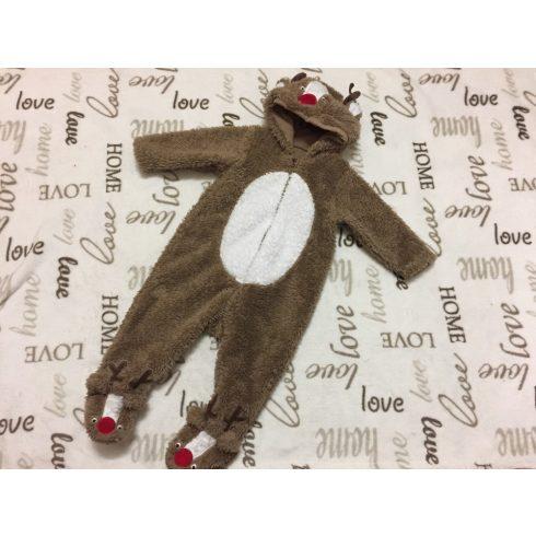 Mothercare 6-9 hó 9 kg  barna - fehér nagyon puha szőrös, kapucni és lábfej részein rénszarvas fej mintás vékony átmeneti fiú overall/ overál -kezeslábas