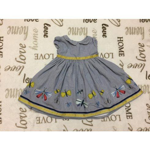 M§S 6-9 hó  72 cm 9 kg  kék- fehér csíkos színes pillangó mintás alsószoknyás lány alkalmi/ elegáns ruha - újszerű, hibátlan