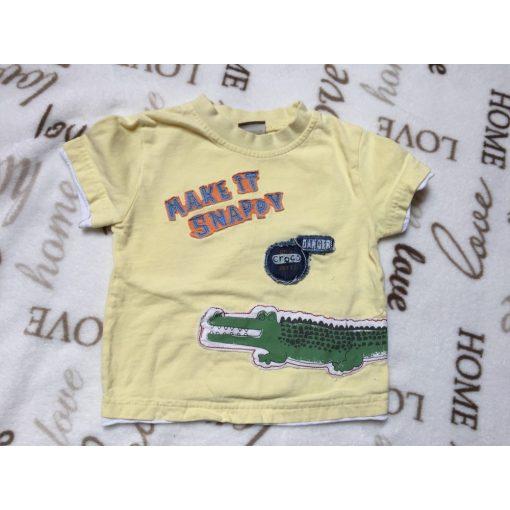 Cherokee 9-12 hó 80 cm sárga alapon zöld krokodilos feliratos puha pamut fiú felső