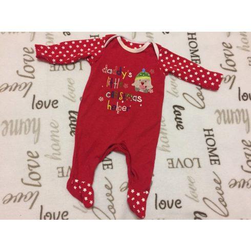 Mothercare 0-3 hó 6,5 kg piros alapon kis csibe mintás színes Christmas feliratos pamut fiú tipegő/ rugdalózó